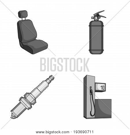 Chair with headrest, fire extinguisher, car candle, petrol station, Car set collection icons in monochrome style vector symbol stock illustration .
