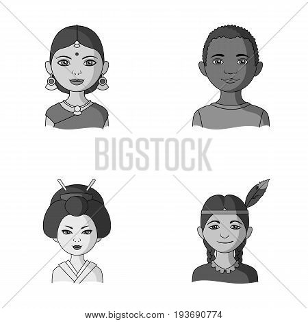 Indian woman, african, japanese, indian. Human race set collection icons in monochrome style vector symbol stock illustration .