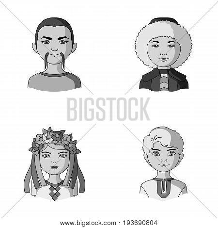 Chinese, ukrainian, russian, eskimo. Human race set collection icons in monochrome style vector symbol stock illustration .