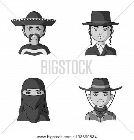 A mexican, a jew, a woman from the middle east, an american. The human race set collection icons in monochrome style vector symbol stock illustration .