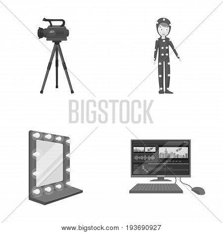 A movie camera, a suit for special effects and other equipment. Making movies set collection icons in monochrome style vector symbol stock illustration .
