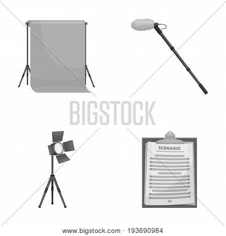 Hromakey, script and other equipment. Making movies set collection icons in monochrome style vector symbol stock illustration .
