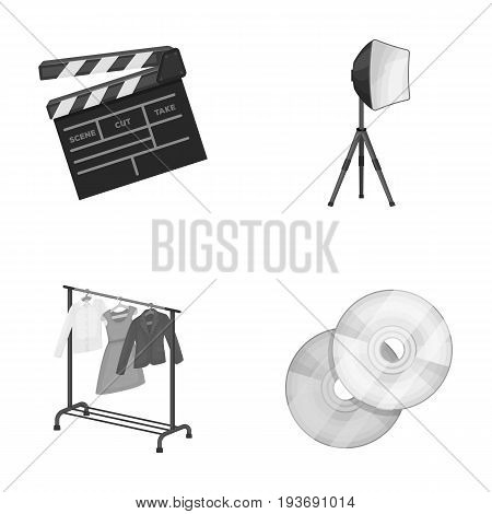 Movies, discs and other equipment for the cinema. Making movies set collection icons in monochrome style vector symbol stock illustration .