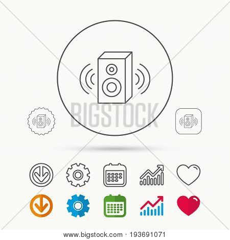 Sound icon. Musical speaker sign. Calendar, Graph chart and Cogwheel signs. Download and Heart love linear web icons. Vector