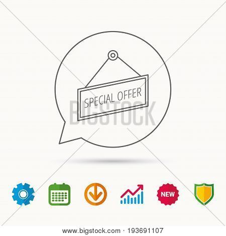 Special offer icon. Advertising banner tag sign. Calendar, Graph chart and Cogwheel signs. Download and Shield web icons. Vector