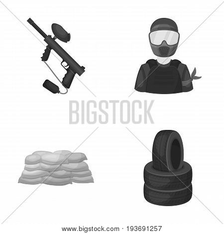 Paintball marker, player and other accessories. Paintball single icon in monochrome style vector symbol stock illustration .