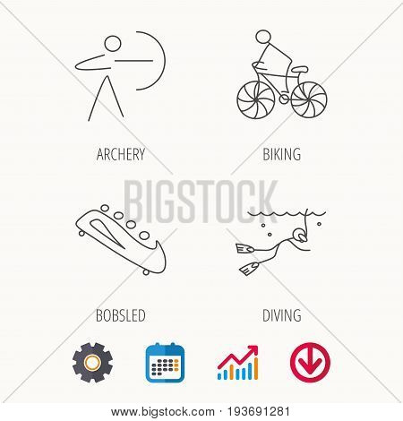 Diving, biking and archery icons. Bobsled linear sign. Calendar, Graph chart and Cogwheel signs. Download colored web icon. Vector