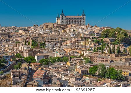Aerial top view of Toledo, historical capital city of Spain in spring