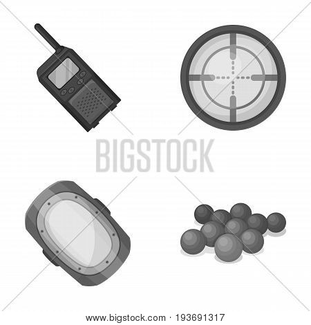 Balls with paint and other equipment. Paintball single icon in monochrome style vector symbol stock illustration .