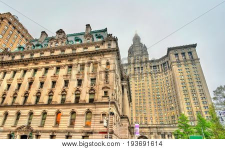 Surrogate's Courthouse and Manhattan Municipal Building in New York City, United States