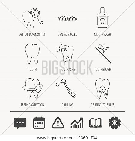 Tooth, dental braces and mouthwash icons. Diagnostics, toothbrush and toothache linear signs. Dentinal tubules, protection flat line icons. Education book, Graph chart and Chat signs. Vector