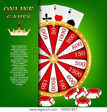 Screensaver for online gambling. Wheel of fortune, casino chips, and cards for the game. Vector illustration.