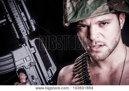 Military marine soldier with rifle