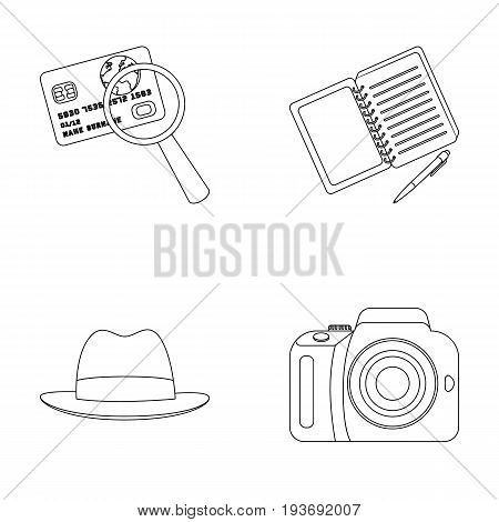 Camera, magnifier, hat, notebook with pen.Detective set collection icons in outline style vector symbol stock illustration .