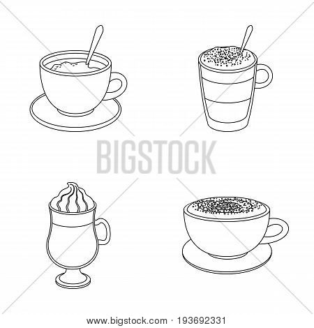 American, late, irish, cappuccino.Different types of coffee set collection icons in outline style vector symbol stock illustration .