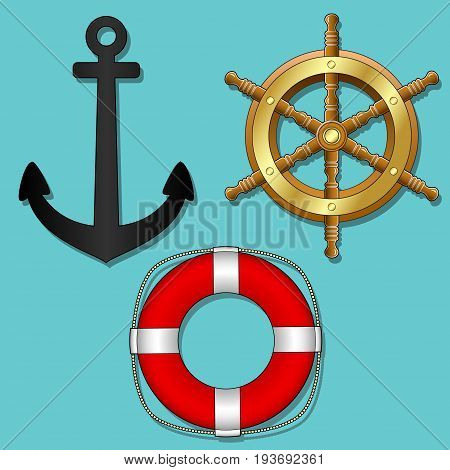 Marine retro vintage ships objects. Isolated. Vector Image