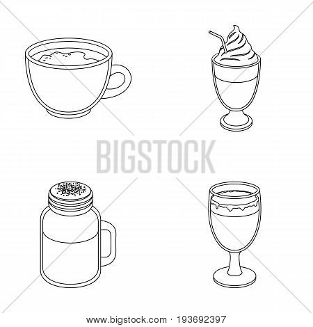 Esprecco, glase, milk shake, bicerin.Different types of coffee set collection icons in outline style vector symbol stock illustration .