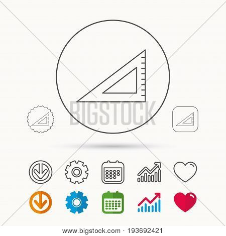 Triangular ruler icon. Straightedge sign. Geometric symbol. Calendar, Graph chart and Cogwheel signs. Download and Heart love linear web icons. Vector
