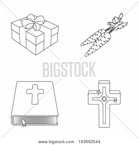 Cross, bible, gift and carrots.Easter set collection icons in outline style vector symbol stock illustration .