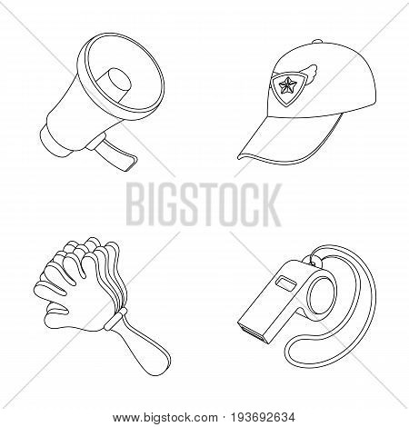 Megaphone, whistle and other attributes of the fans.Fans set collection icons in outline style vector symbol stock illustration .