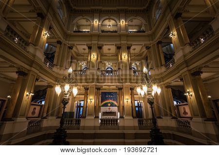 Rio de Janeiro, Brazil - June 27, 2017: Interior of National Library of Brazil. It was established in 1807, and is more than 200 years old.