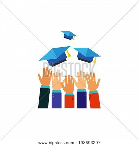 Icon of hands throwing hats high. Headwear, pupil, student. Graduation concept. Can be used for topics like college, university, education