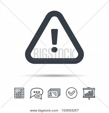 Warning icon. Attention exclamation mark symbol. Chat speech bubble, chart and presentation signs. Contacts and tick web icons. Vector