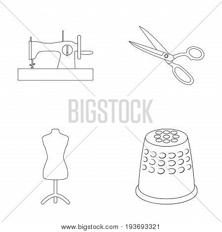 Manual sewing machine, scissors, maniken, thimble.Sewing or tailoring tools set collection icons in outline style vector symbol stock illustration .