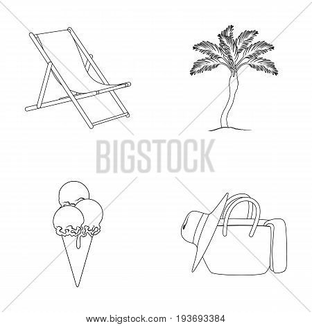 Beach, palm tree, ice cream.Summer vacation set collection icons in outline style vector symbol stock illustration .
