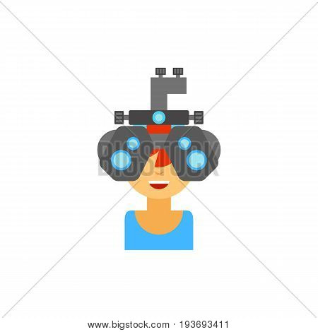 Icon of optometrist at work. Cheerful doctor, medicine, examining. Oculist concept. Can be used for topics like profession, optometry or ophthalmalgia