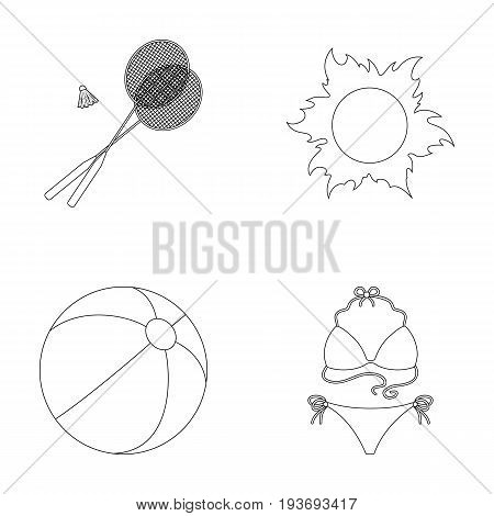 A game of badminton, a ball and the sun.Summer vacation set collection icons in outline style vector symbol stock illustration .