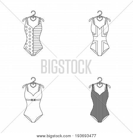 Different kinds of swimsuits. Swimsuits set collection icons in outline style vector symbol stock illustration .