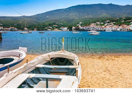 Sea Landscape With Cadaques, Catalonia, Spain Near Of Barcelona. Scenic Old Town With Nice Beach And