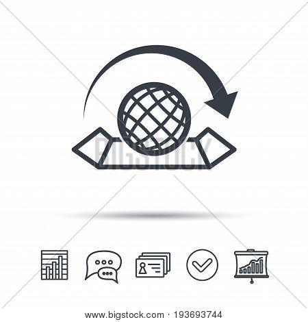 World map icon. Globe with arrow sign. Travel location symbol. Chat speech bubble, chart and presentation signs. Contacts and tick web icons. Vector