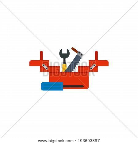 Vector icon of folding toolbox with wrench, screwdriver and saw. Plumber, carpenter, repairman. Building equipment concept. Can be used for topics like construction, service, home improvement