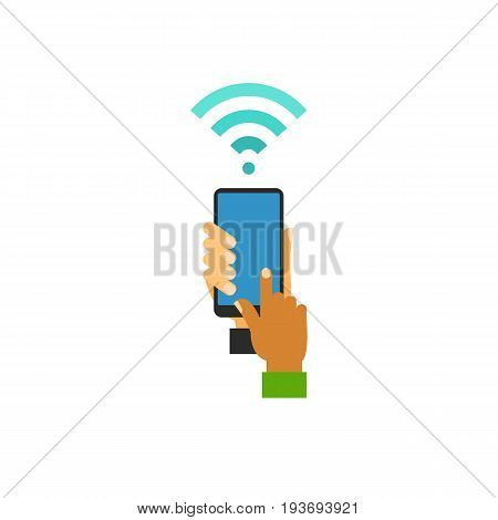Icon of hands using wifi. Phone, device, touch screen. Wireless technology concept. Can be used for topics like internet, access or  telecommunication