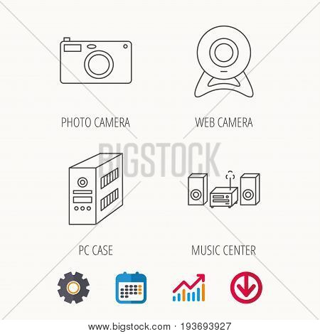 Photo camera, pc case and music center icons. Web camera linear sign. Calendar, Graph chart and Cogwheel signs. Download colored web icon. Vector