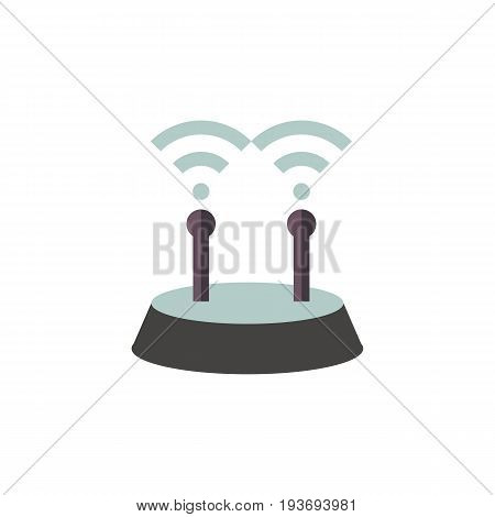 Icon of wifi router. Signal, area network, antenna. Wireless technology concept. Can be used for topics like internet, wireless access point or device
