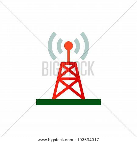 Icon of wireless antenna. Transmitter, distribution, tower. Wireless technology concept. Can be used for topics like broadcasting, telecommunication or station