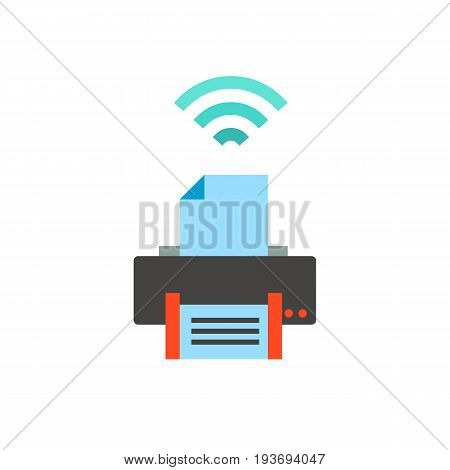 Icon of wireless printer. Convenience, transmitting, connection. Wireless technology concept. Can be used for topics like equipment, wifi network or business