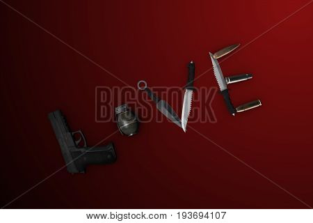 3D Illustration Of The Word Love Lined With A Gun On A Red Background