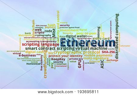 Ethereum crypto currency word cloud over abstract blue curved motion background