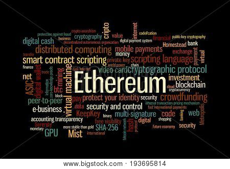 Ethereum crypto currency word cloud over black