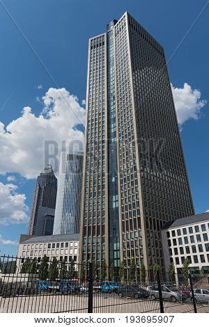 FRANKFURT, GERMANY-JULY 04, 2017: Three skyscrapers in the area of the Trade Fairground in Frankfurt, germany