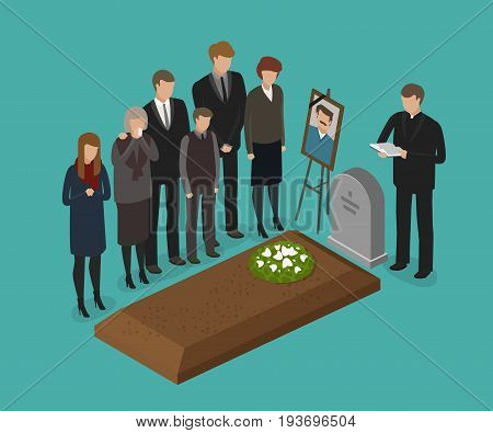 Funeral, burial concept. Cemetery grave necrology vector illustration
