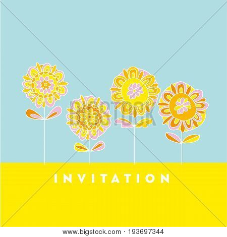 Naive style hand drawn decorative Marigold flower design element. vector illustration for surface design, invitation, card, poster