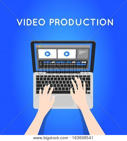 Video production computer software on laptop. Editing video