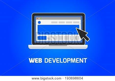 Web development laptop icon. Create website on computer concept.