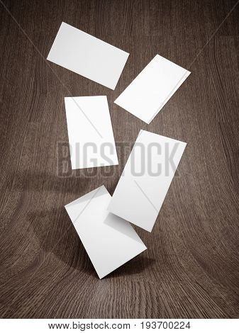 Business card falling on wooden background. 3D illustration.