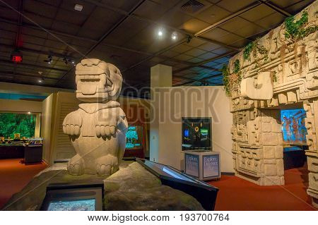 HOUSTON, USA - JANUARY 12, 2017: Indian art with zone Maya structures inside of the National Museum of Natural Science in Orlando Houston in USA.